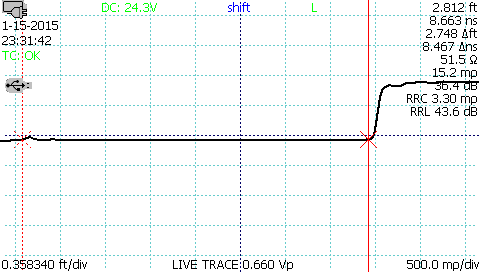 TDR waveform velocity of propagation measurement step 1