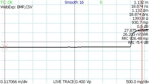 TDR waveform of cable after autofit operation.