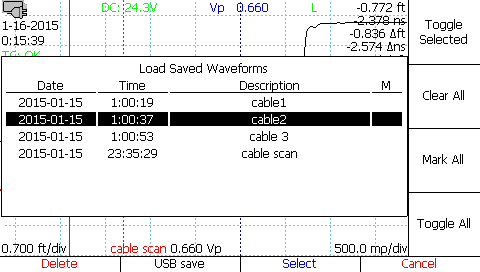 Loading saved TDR scans-waveforms-traces from the cable library