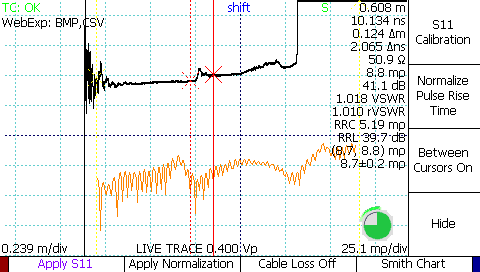 TDR S11 scattering parameter return loss plot between cursors de-embedding an SMA barrel adapter on the impedance waveform