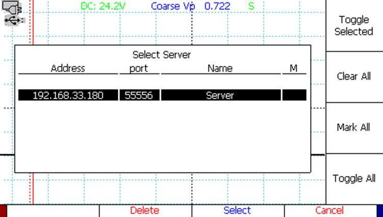 CT Viewer TDR waveform software select server window