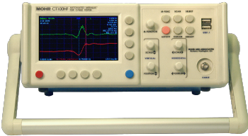 CT100HF Time-Domain Reflectometer (TDR) with 50 Ohm SMA test port.  Screen shows 50-75 Ohm SMA interconnect.